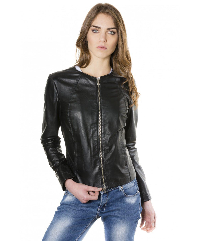 giacca-in-pelle-comfort-fit-da-donna-con-zip-centrale-e-girocollo-nero-p151-