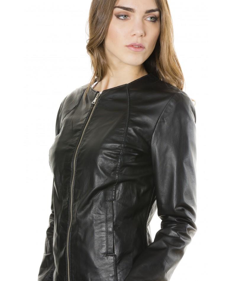 giacca-in-pelle-comfort-fit-da-donna-con-zip-centrale-e-girocollo-nero-p151- (2)