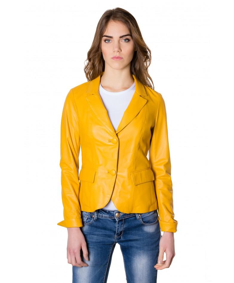 giacca-in-pelle-da-donna-modello-blazer-due-bottoni-colore-giallo