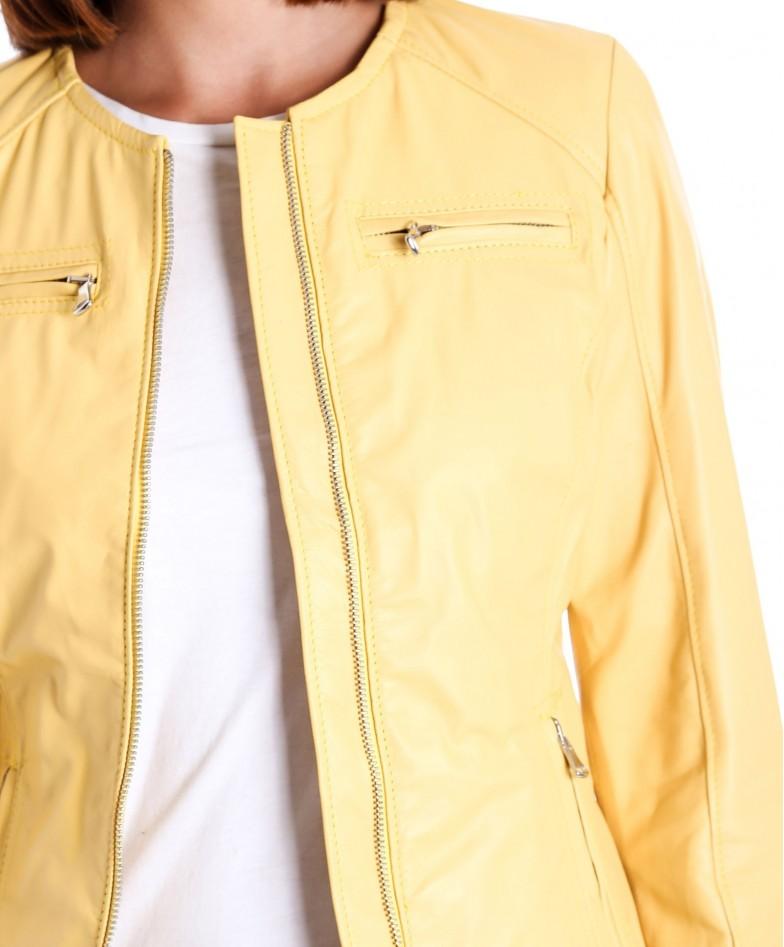 giacca-in-pelle-da-donna-modello-chiodo-biker-trapuntata-e-girocollo-giallo-m890 (1)