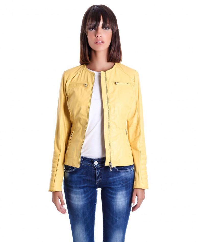 giacca-in-pelle-da-donna-modello-chiodo-biker-trapuntata-e-girocollo-giallo-m890 (2)