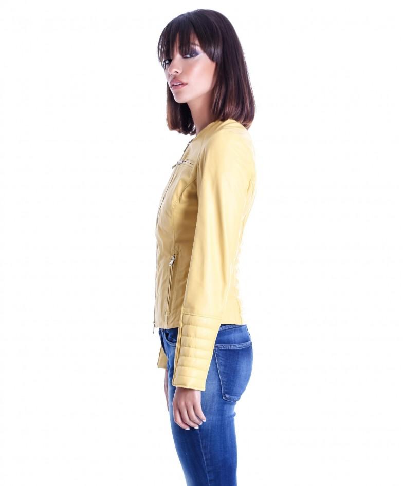 giacca-in-pelle-da-donna-modello-chiodo-biker-trapuntata-e-girocollo-giallo-m890 (3)