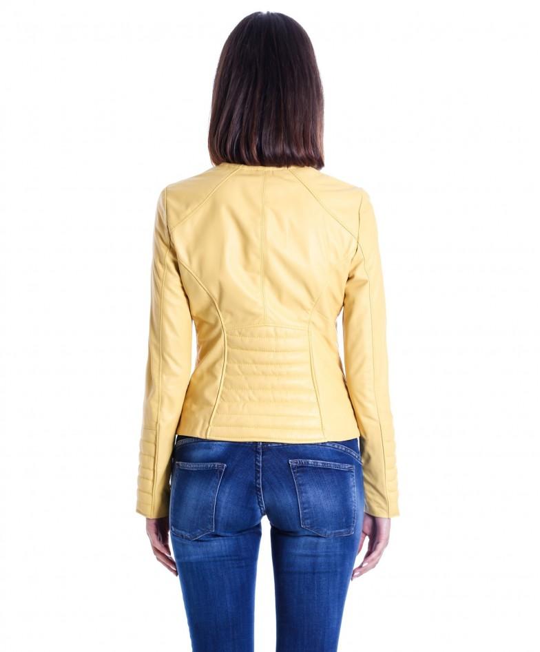 giacca-in-pelle-da-donna-modello-chiodo-biker-trapuntata-e-girocollo-giallo-m890 (4)