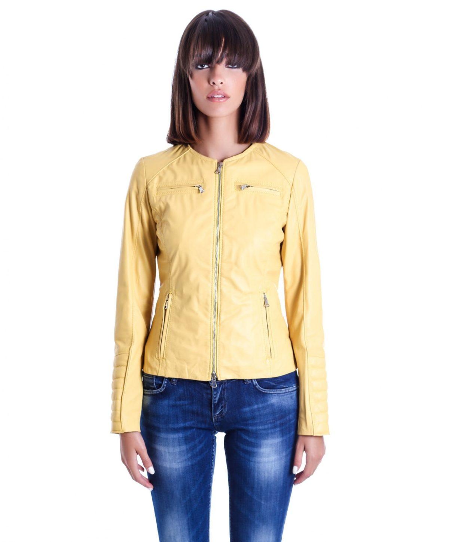 giacca-in-pelle-da-donna-modello-chiodo-biker-trapuntata-e-girocollo-giallo-m890