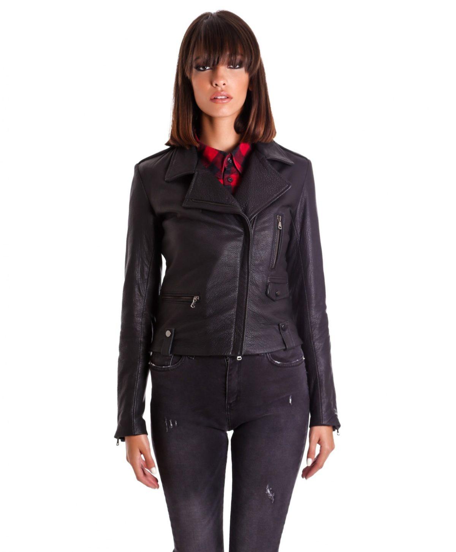 giacca-in-pelle-da-donna-modello-chiodo-biker-zip-trasversale-nero-f207