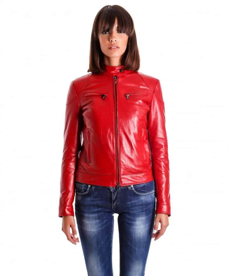 giacca-in-pelle-donna-modello-chiodo-biker-con-impunture-rosso-mia