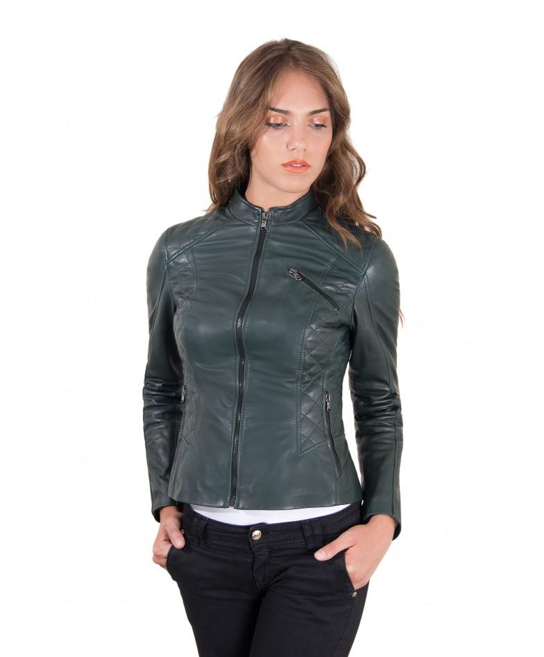 giacca-in-pelle-donna-trapuntata-modello-chiodo-biker-colore-verde-geny-collezione-donna-autunno-inverno