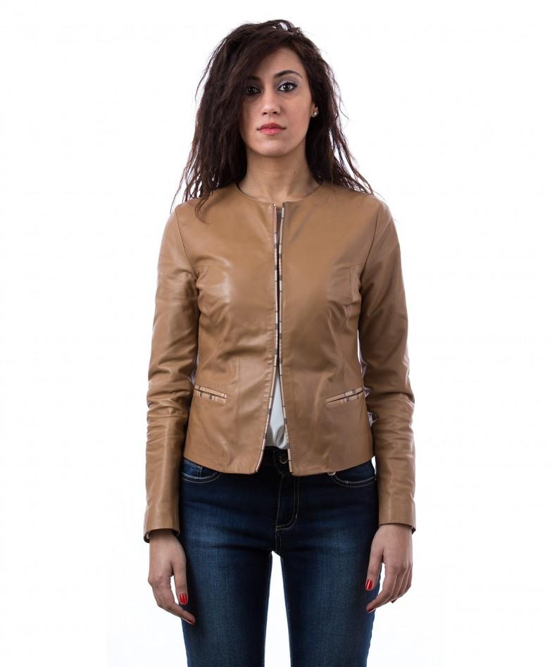 giacchino-corto-in-pelle-donna-girocollo-cuoio-clear-bicolor