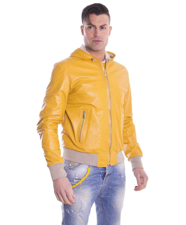 giubbotto-in-pelle-da-uomo-con-cappuccio-e-fodera-traforata-colore-giallo-biancolino- (3)