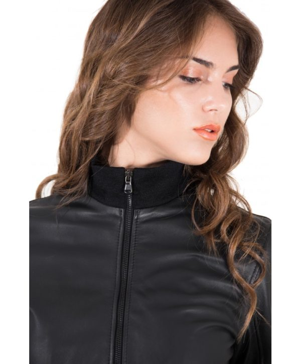 san francisco 0da6f e3236 G155 - Black Color - Lamb Leather Bomber Jacket Smooth Effect