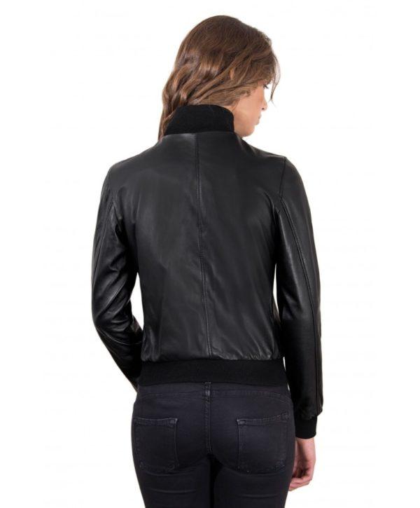 san francisco 1d32b 0bf26 G155 - Black Color - Lamb Leather Bomber Jacket Smooth Effect