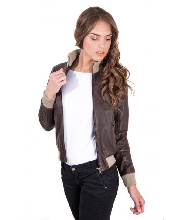 new styles 48b1e 4d617 G155 - Dark Brown Color - Lamb Leather bomber Jacket Vintage ...