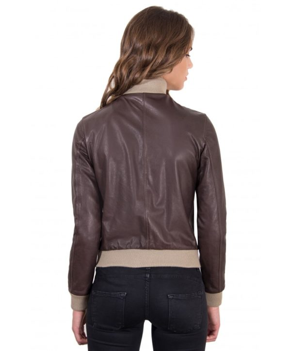 new styles 4187e ab568 G155 - Dark Brown Color - Lamb Leather bomber Jacket Vintage ...