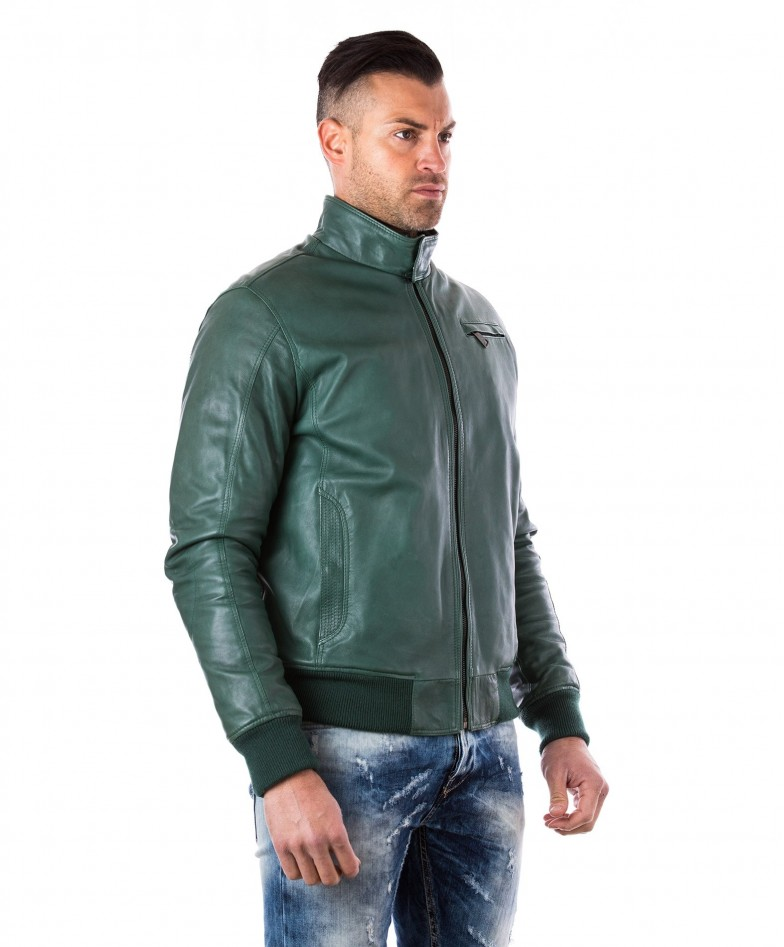 men-s-leather-jacket-genuine-soft-leather-style-bomber-bicolor-wool-cuffs-and-bottom-one-zip-pocket-green-color-thil (2)