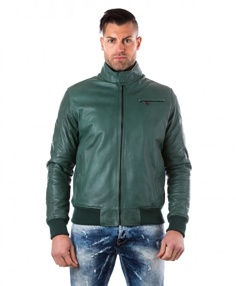 men-s-leather-jacket-genuine-soft-leather-style-bomber-bicolor-wool-cuffs-and-bottom-one-zip-pocket-green-color-thil
