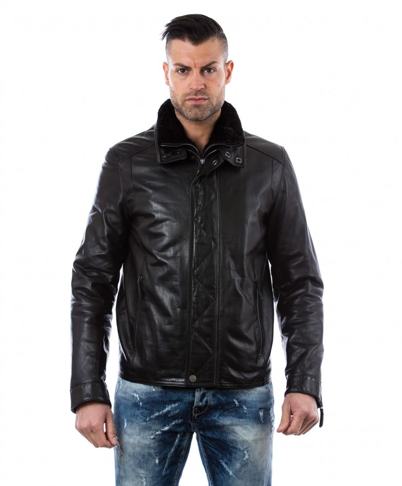 men-s-leather-jacket-mink-fur-collar-central-zip-and-buttons-pockets-regular-fit-davide-black