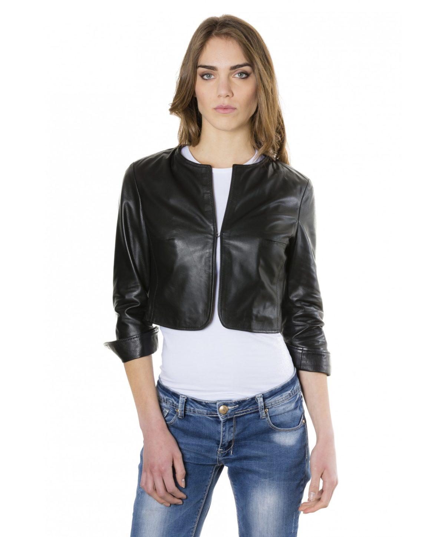 miss-black-color-lamb-leather-round-neck-short-jacket