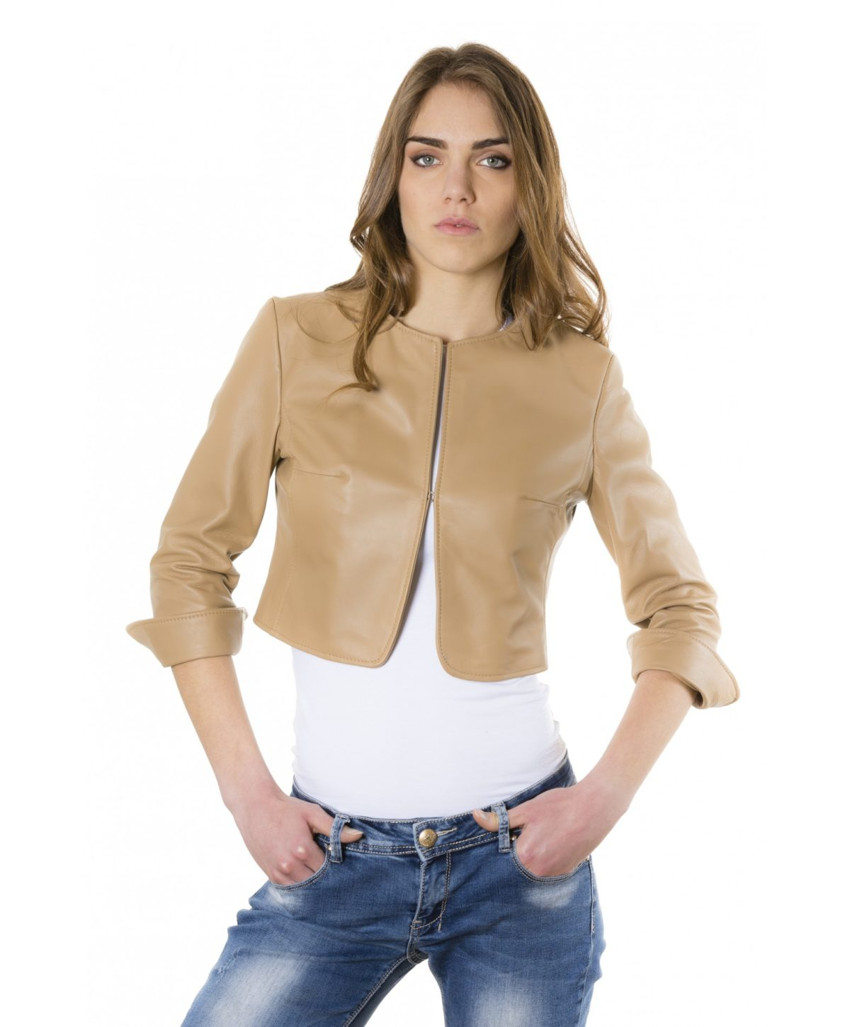 miss-brown-color-lamb-leather-round-neck-short-jacket