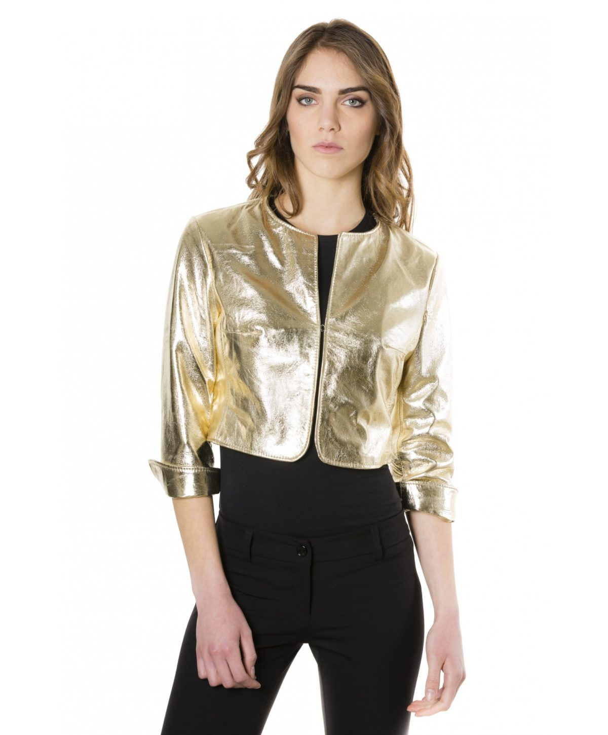 miss-gold-color-laminated-nappa-lamb-leather-round-neck-short-jacket (1)