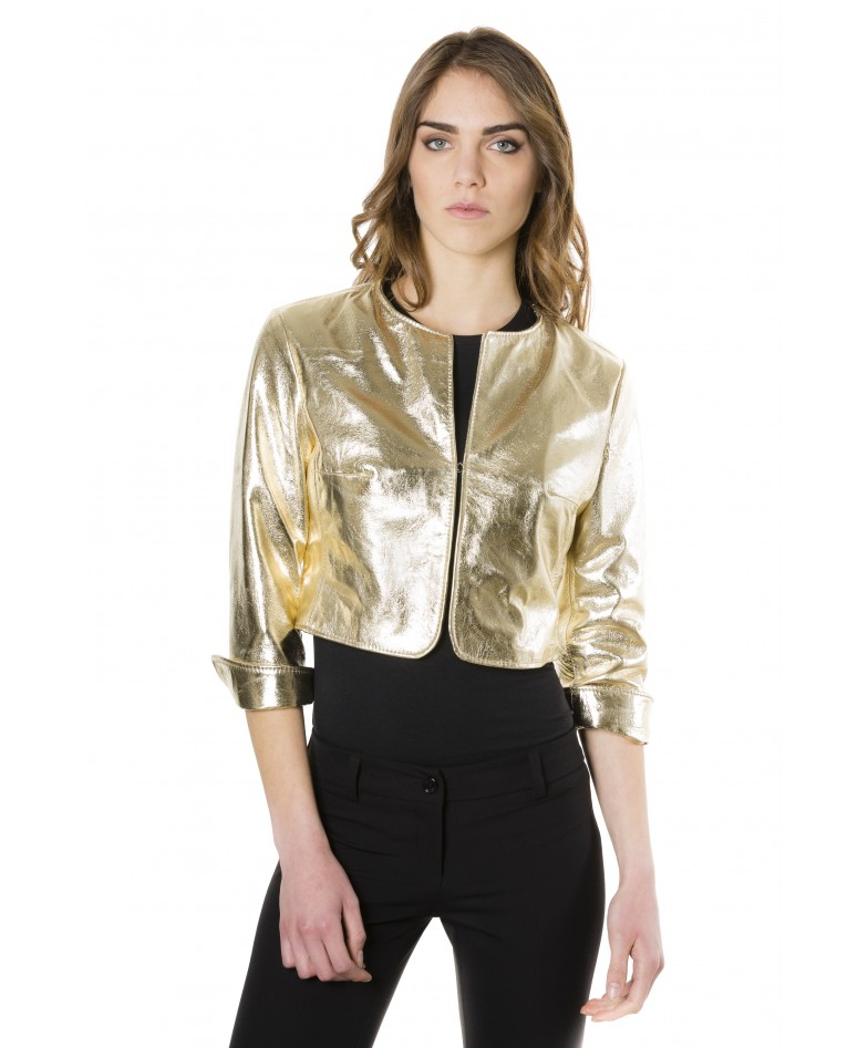 miss-gold-color-laminated-nappa-lamb-leather-round-neck-short-jacket