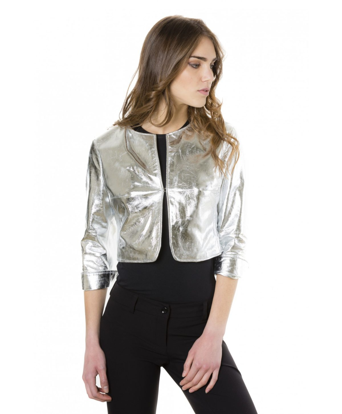 miss-silver-color-laminated-nappa-lamb-leather-round-neck-short-jacket